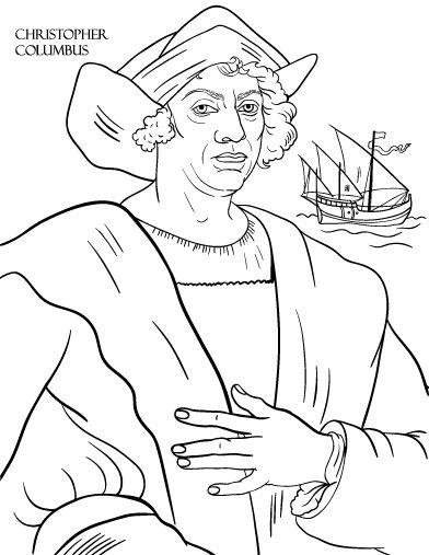 Printable Christopher Columbus coloring page. Free PDF