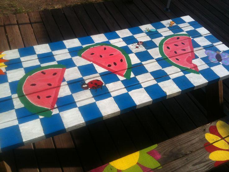 1000 Ideas About Picnic Table Paint On Pinterest