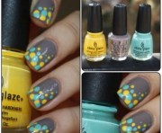 turquoise canary yellow & gray