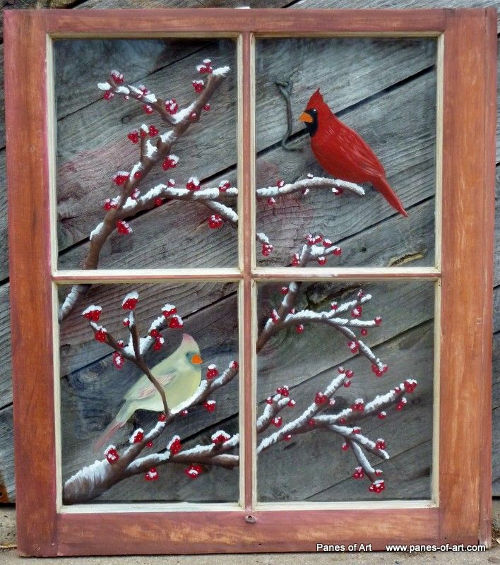 Panes of Art, Hand Painted Window Pane Art, Window Art