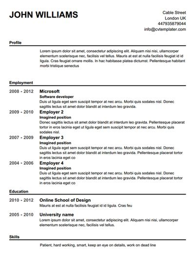 Free Basic Resume Builder | Resume Templates And Resume Builder ...