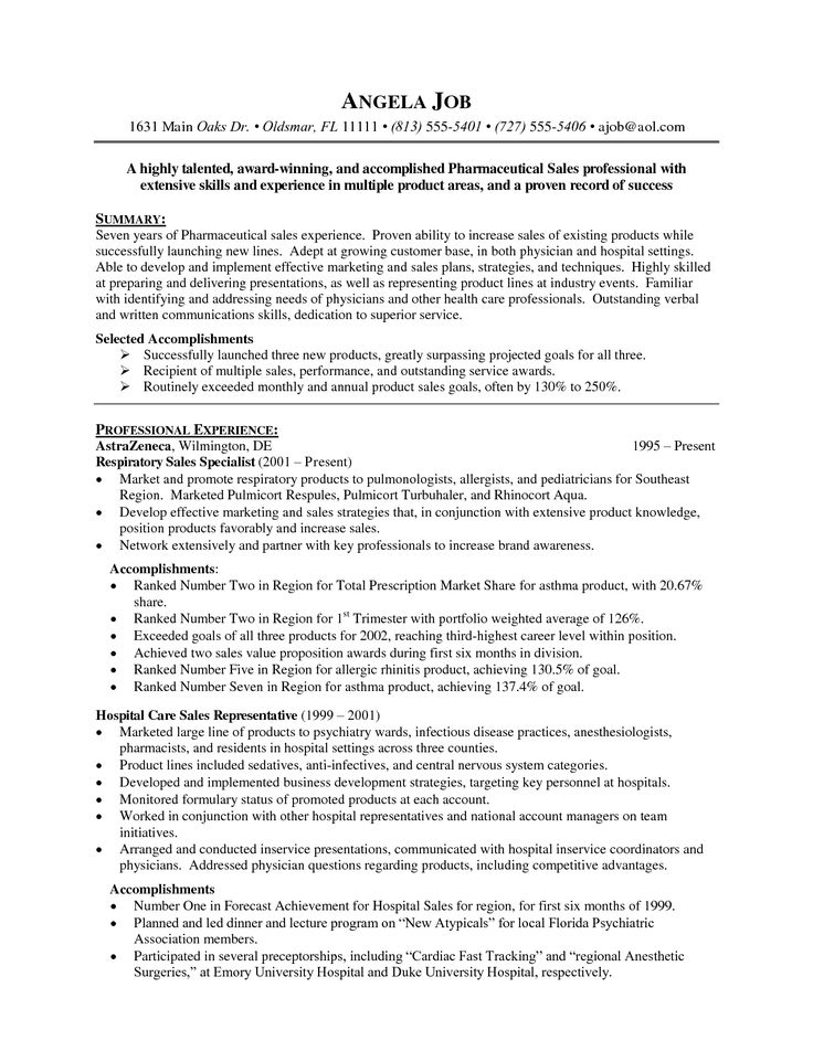 Pharmaceutical Sales Resume Examples