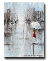 GICLEE PRINT Art Abstract Painting Girl White Umbrella Red ...
