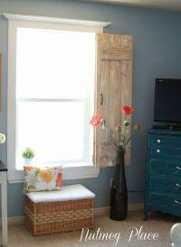 Window molding and rustic indoor shutters.