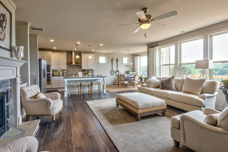 open concept kitchen living room double wide park model