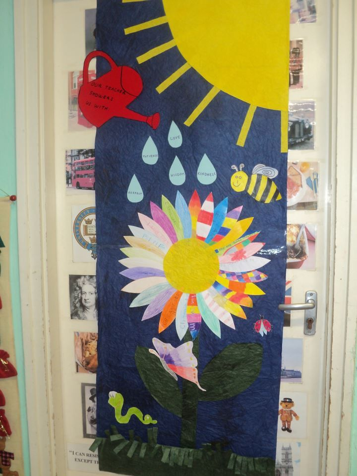 Spring door decoration in the language classroom