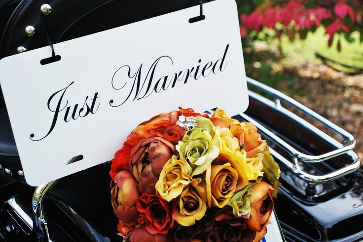harley davidson wedding bands   Just Married sign