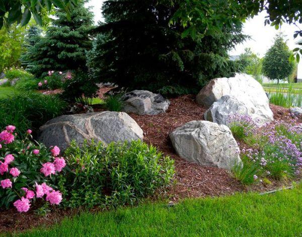 boulders flower bed berms