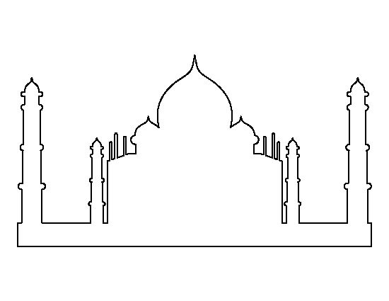 Taj Mahal pattern. Use the printable outline for crafts