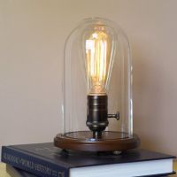 Table / Desk Lamp with Edison Light Bulb and Glass Dome ...