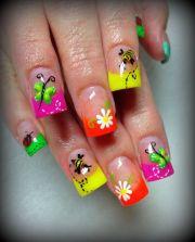 day 119 neon spring nail art