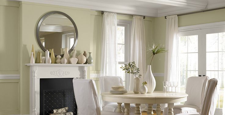 Behr Green Dining Room Breathe Pale Green Silky