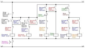 Electrical Schematic Diagram for the Control Circuit of a Forward Reverse Star (Wye) Delta Motor