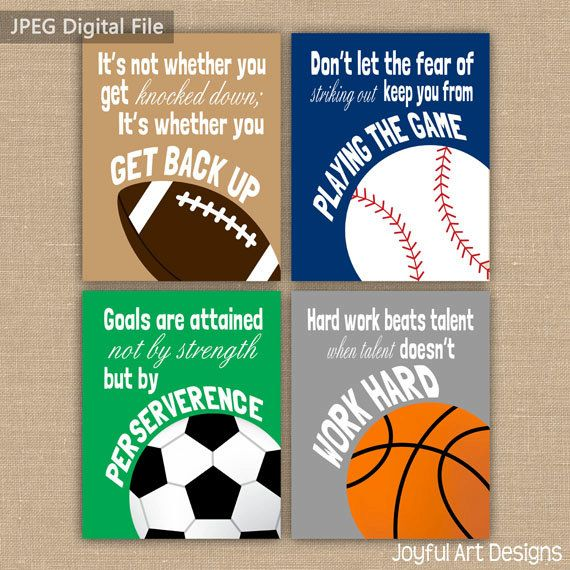 Set of 4 Motivating Sports Quotes PRINTABLE Signs
