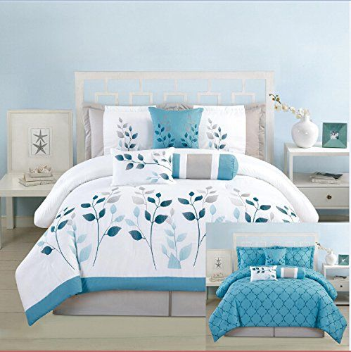 7 Pieces Luxury Reversible Turquoise Blue, White and Grey