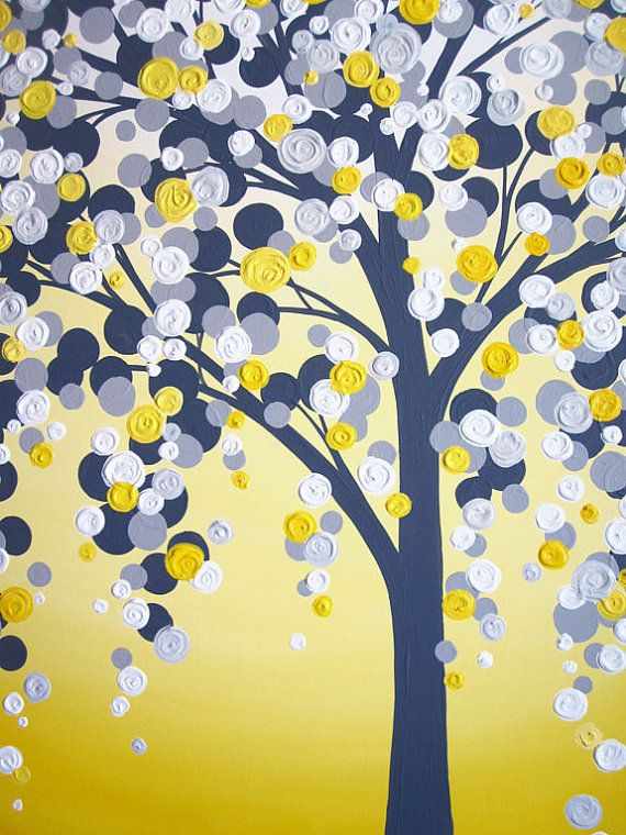 Yellow and Grey Art 18x24 Textured Tree Acrylic Painting