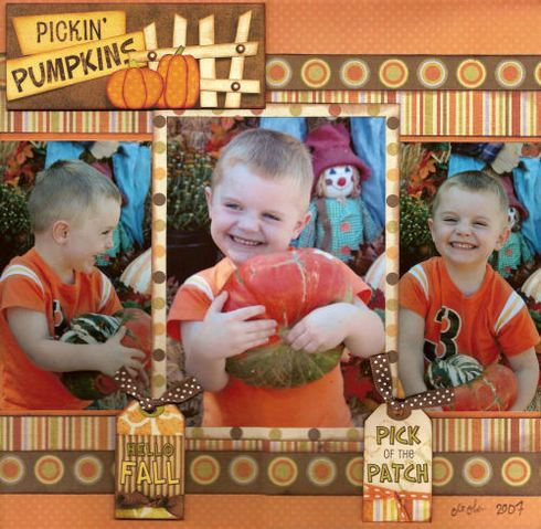 """Sweet Fall """"Pickin' Pumpkins"""" Page…with cute tags attached with ribbon.  By neboyle – A Cherry On Top Gallery."""
