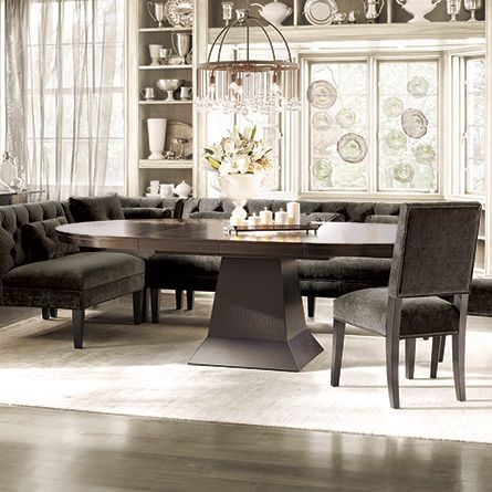 hickory chair banquette ashley furniture leather eaton tufted upholstered in vanetta grey and | for the home pinterest ...