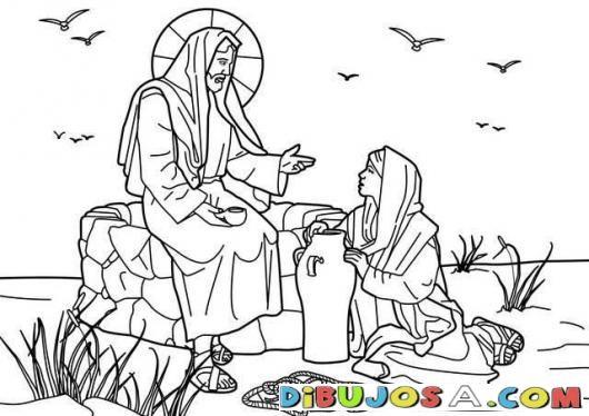 Dibujo para pintar a Jesus con la Mujer Samaritana