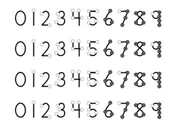 Each number is in a different color. One number fills an 8