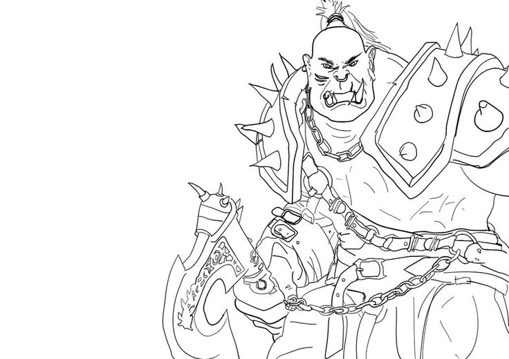 Warcraft Orc Coloring Pages Sketch Coloring Page