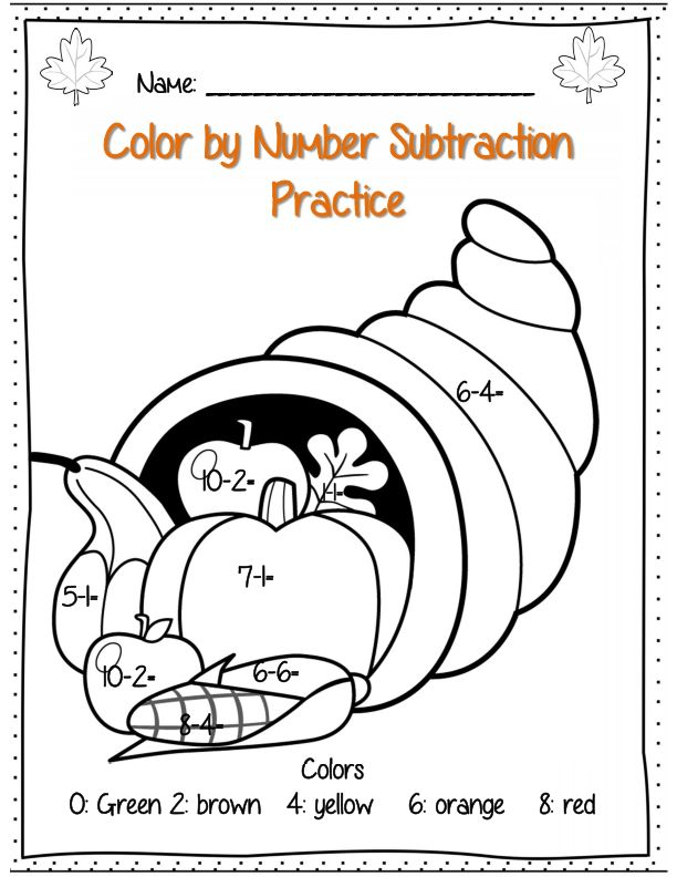 Thanksgiving Math Activities Sketch Coloring Page