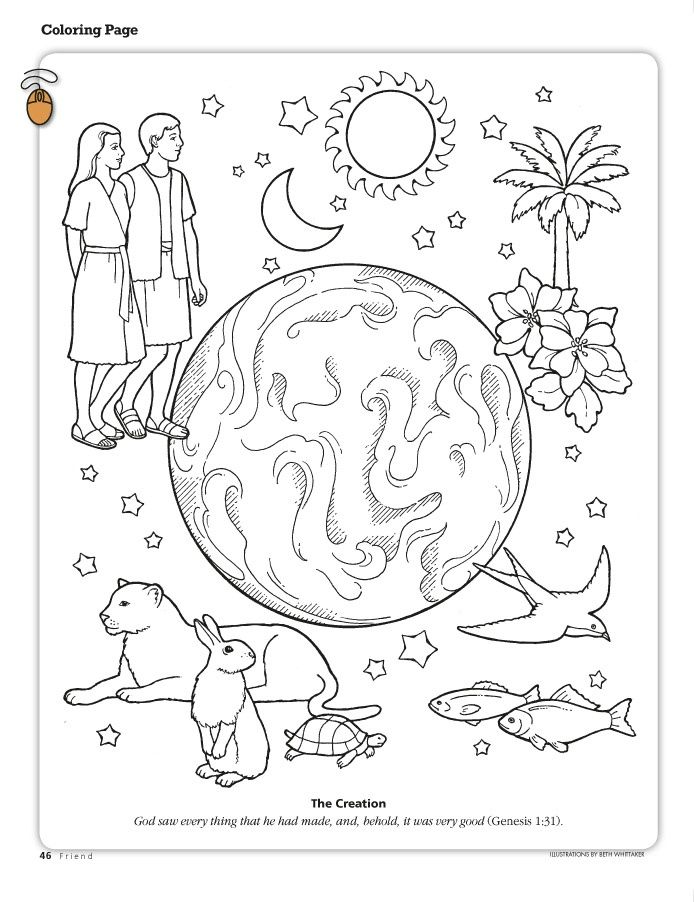 the creation coloring page depicting the earth adam and