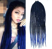 Black to Royal Blue Two Colors Ombre Crochet Braid Hair ...