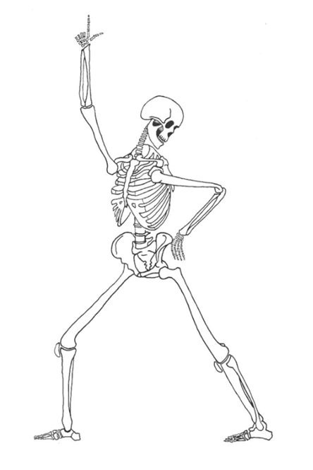 A lively diagram of a dancing skeleton, as A4 & A5 sizes