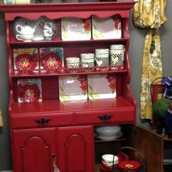 Painted Kitchen Cabinets Pot Sets Crawford Furniture Maple China Hutch Chalk Red And ...