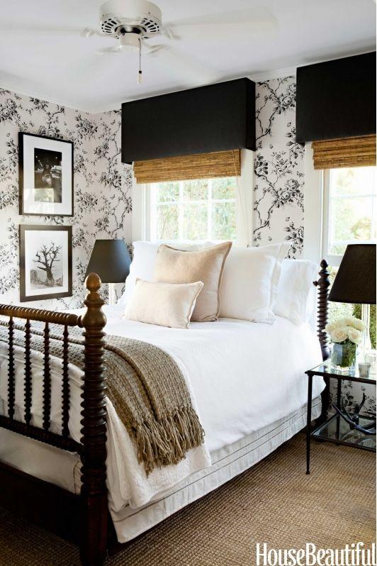 A beautiful bedroom window treatment fabric valances over