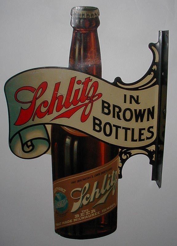 Rare die cut Schlitz Beer flange sign  Beer History and