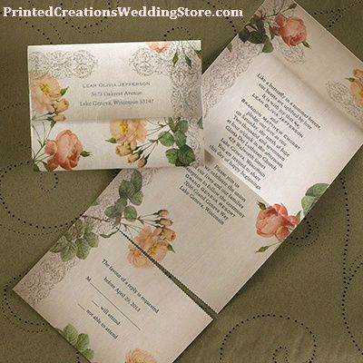 Vintage Roses Seal n Send invitation to complement a vintage wedding theme See all the details