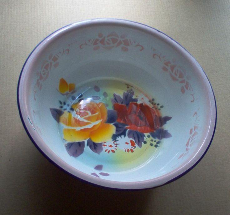 Vintage Enameled Metal Bowl Butterfly Brand Old Dishpan