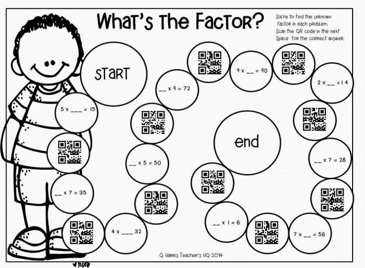 Practice finding the unknown factor ~ Scan QR Codes to see