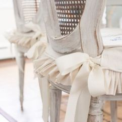 Wicker Chair Seat Cushion Covers Small Bathroom Chairs Design Slip Cover Tutorial With Ties & A Ruffled Skirt | Miss Mustard Seed Cottage Life Pinterest ...