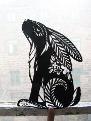 rabbit stencil cut paper artowork