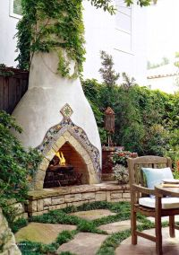 Spanish style stucco fireplace. | Outdoor Fireplaces ...