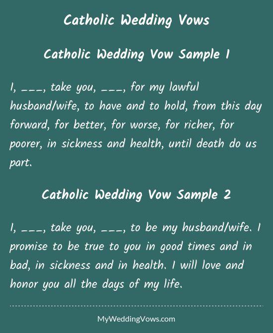 Catholic Wedding Vows  Search Wedding and Health