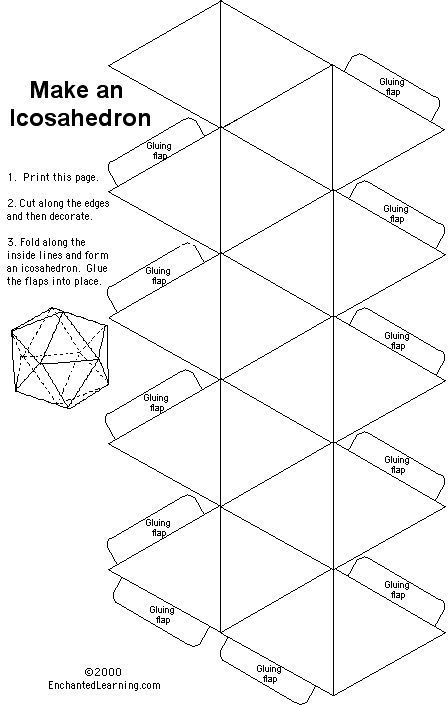 Paper template for an icosahedron (or for the nerds, a d20
