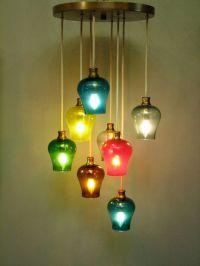 Vintage Mid Century Modern Multi-colored Glass Pendant ...