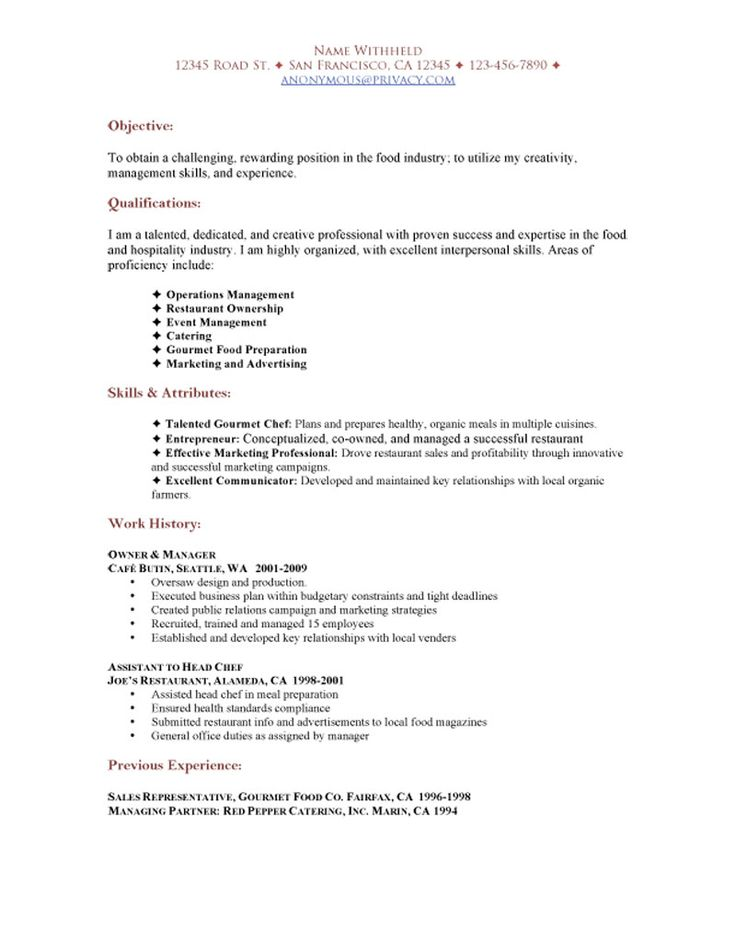 SAMPLE RESTAURANT RESUMES Restaurant Functional Resume