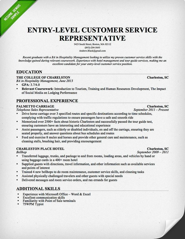 sample resumes for entry customer service jobs