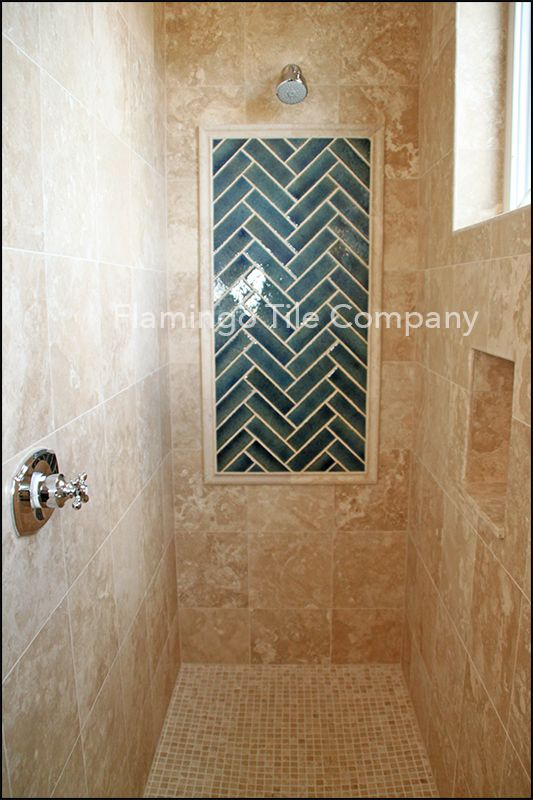 Marble Shower With Candied Brick Herring Bone Picture