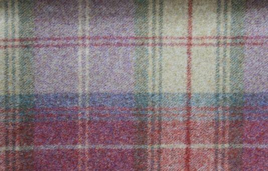 Woodford Plaid Wool Tartan Fabric In Mauve Green And