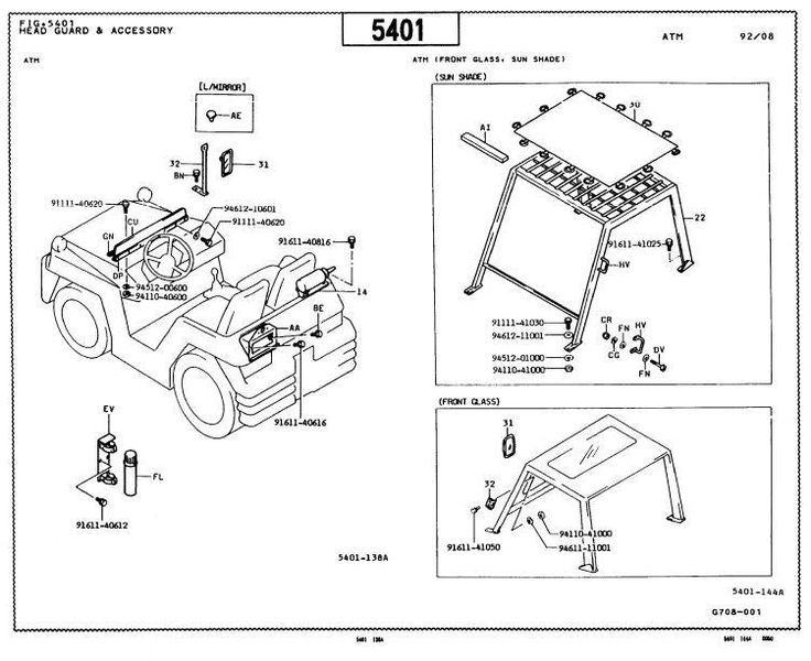 Toyota Towing Tractor Type 02-2TD20, 02-2TD25 Parts Manual