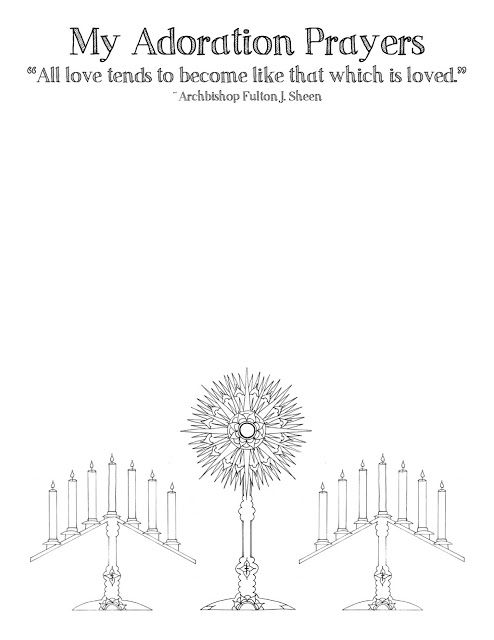 Adoration Prayer Pages for kids to use during a Holy Hour
