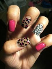 pink leopard & diamond nails. cute