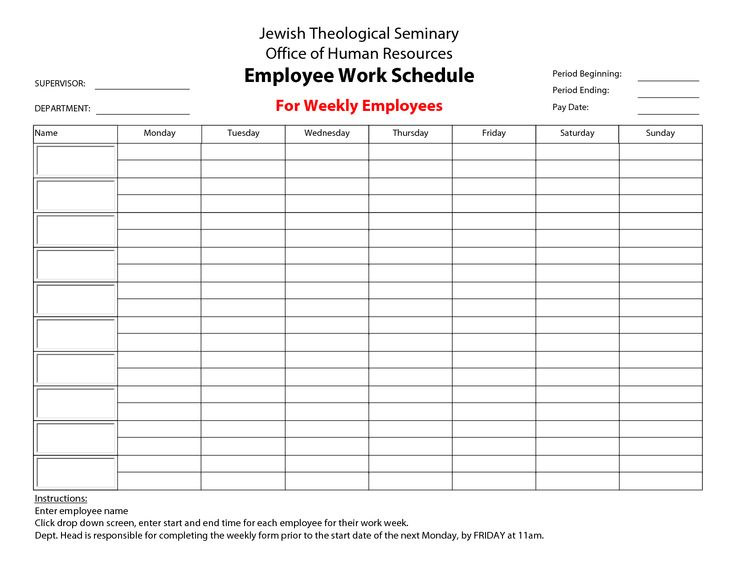 work schedule template for multiple employees