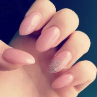 Pink almond nails with silver sparkles    Acrylic Nails ...